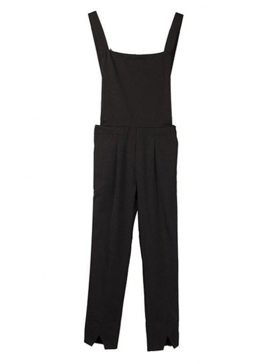 fashion Solid Color Straight Leg Overalls - BLACK S