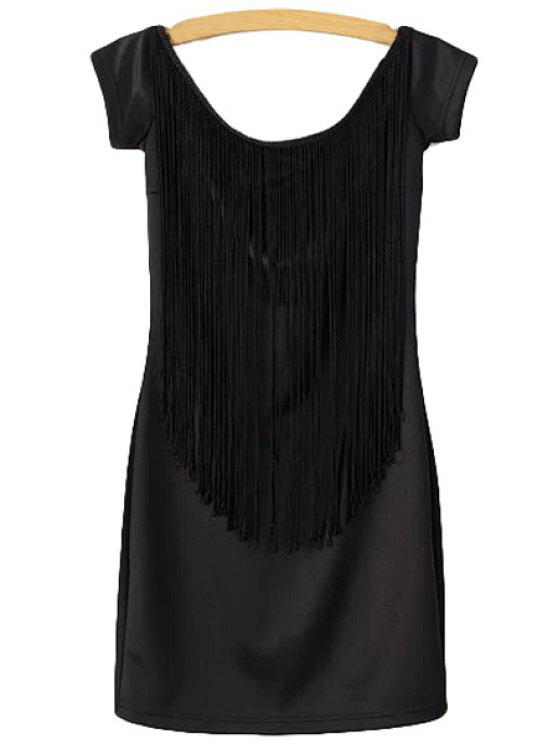 fashion Fringe Splicing Solid Color Dress - BLACK S