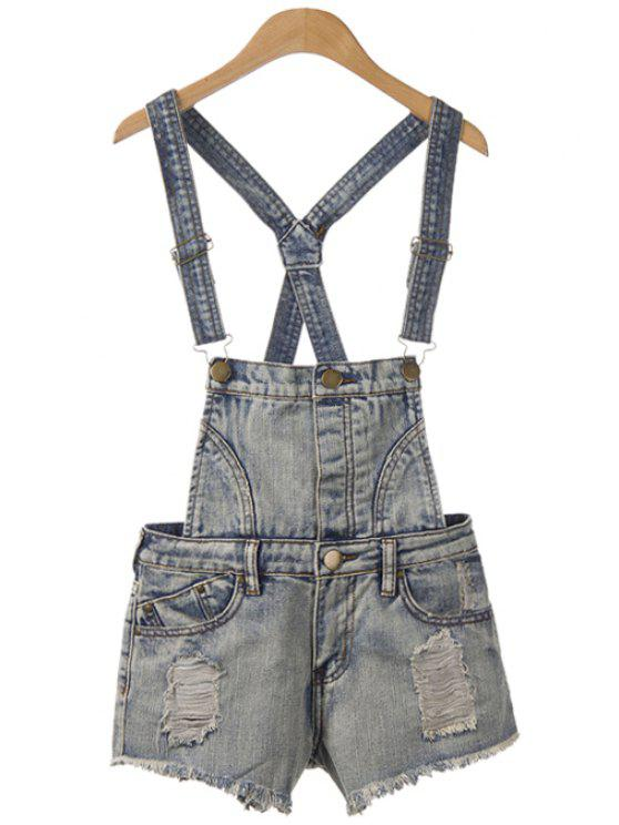 shops Straps Broken Hole Denim Overalls - BLUE GRAY XL
