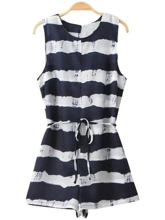 latest Stripe Color Block Tie-Up Romper - WHITE AND BLACK S