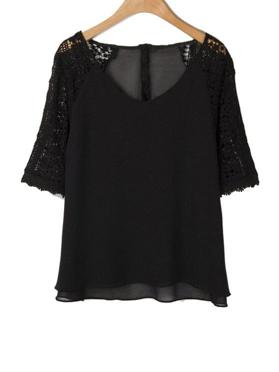 shops Crochet Flower Spliced Blouse - BLACK S