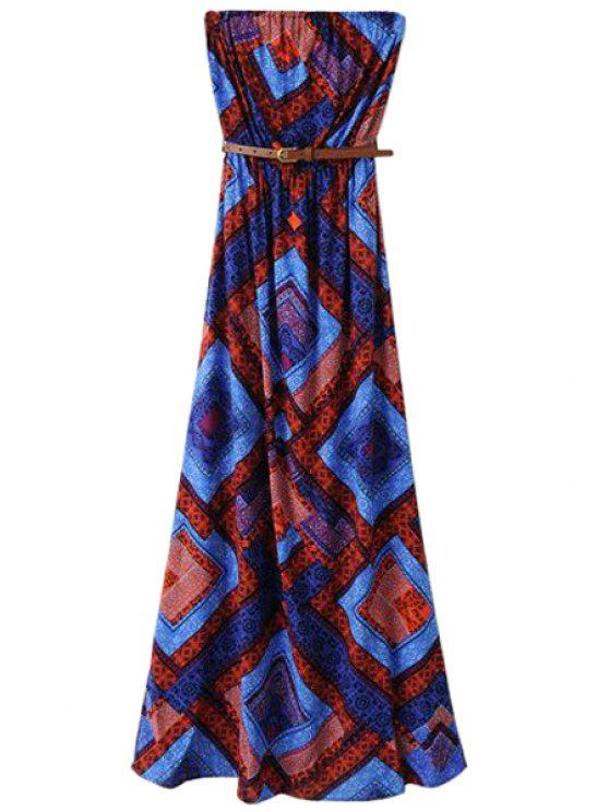 women's Strapless Color Block Square Print Dress - BLUE S