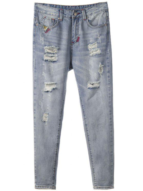 fashion Broken Hole Straight Leg Vintage Jeans - BLUE GRAY 28