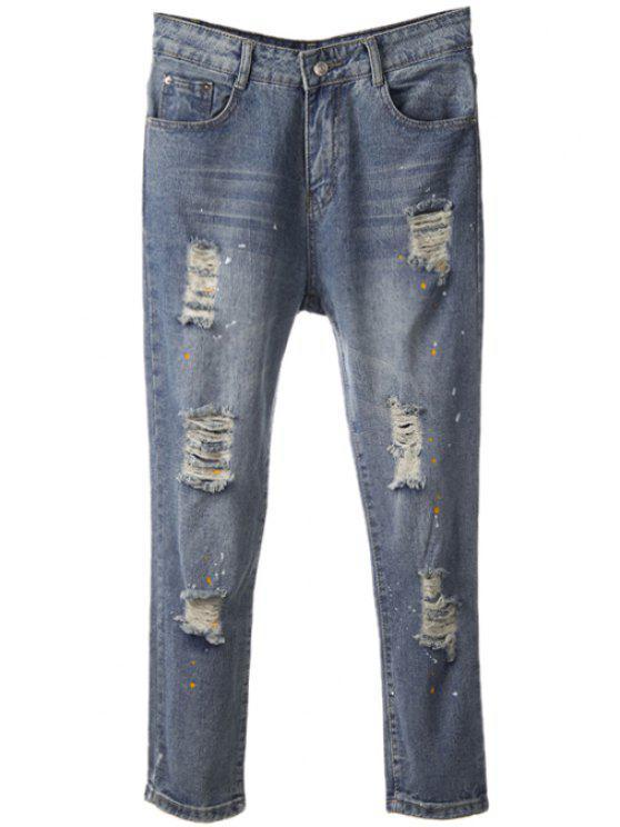 womens Print Broken Hole Straight Leg Jeans - DEEP BLUE 26