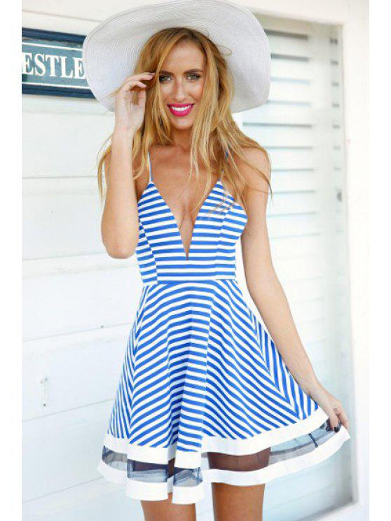 buy Blue Stripe Voile Splicing Sleeveless Dress - BLUE AND WHITE S