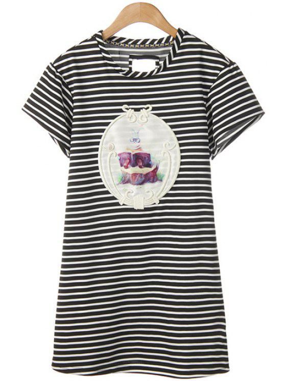 shops Rabbit Print Striped Short Sleeve Dress - WHITE AND BLACK M