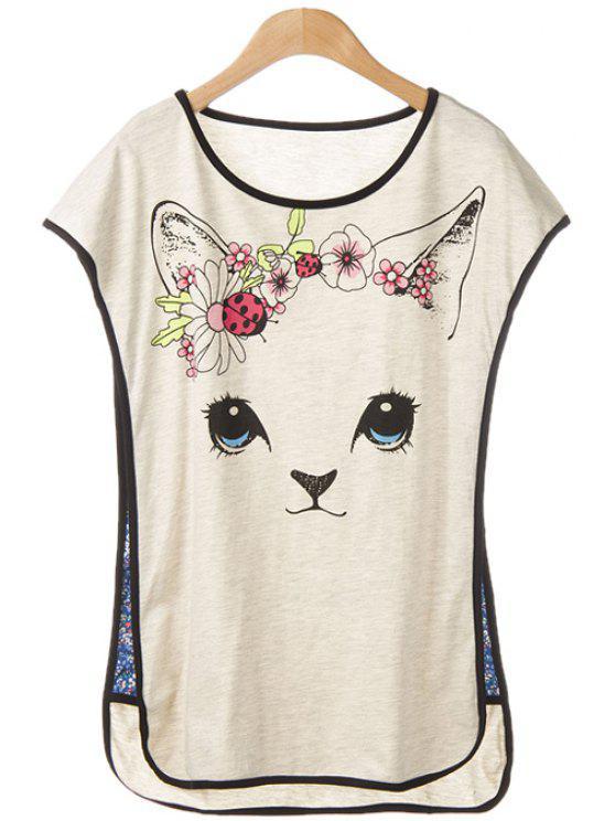 buy Kitten Print Sleeveless T-Shirt - LIGHT GRAY M