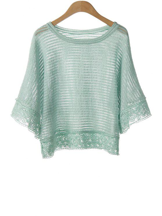 womens Crochet Spliced Bat-Wing Sleeve Blouse - GREEN ONE SIZE(FIT SIZE XS TO M)