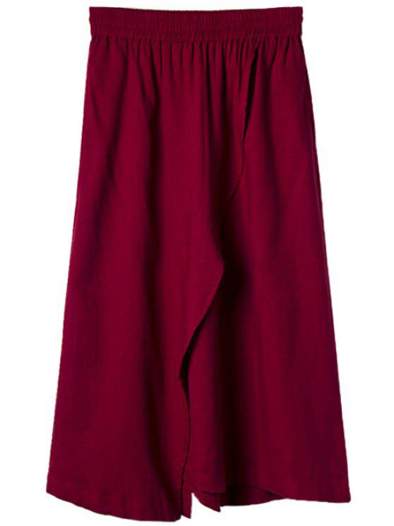 latest Solid Color Linen Skirt - WINE RED M