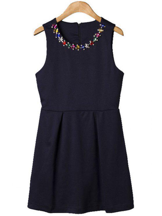 trendy Colorful Rhinestone Sundress - BLACK M