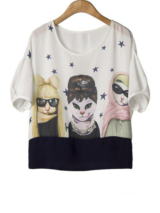 ladies Cats Print Short Sleeve T-Shirt - WHITE M