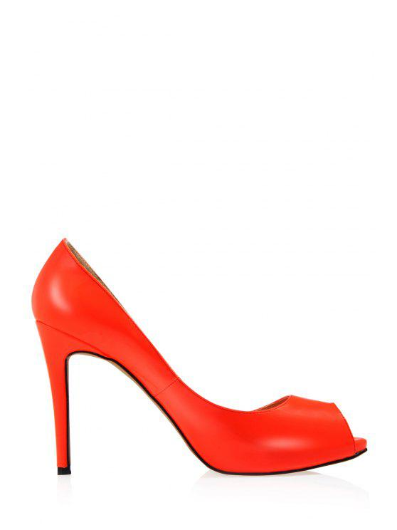 4c05fbf0232 32% OFF  2019 Sexy High Heel Patent Leather Shoes In ORANGE