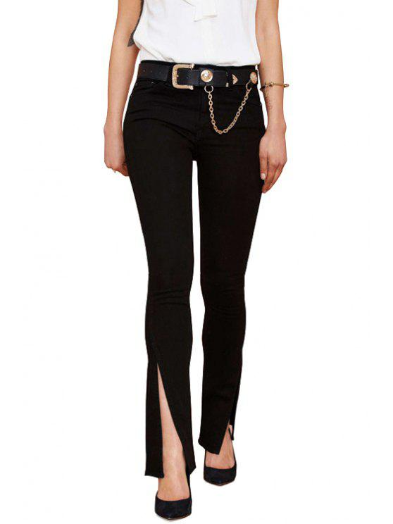 hot Solid Color Slit Zipper Fly Pants - BLACK XS