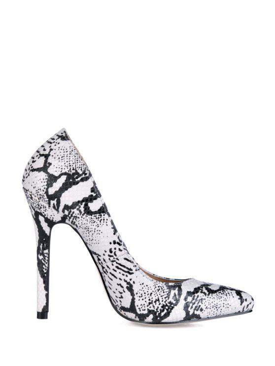 buy Snake Print Stiletto Heel Pumps - WHITE 35