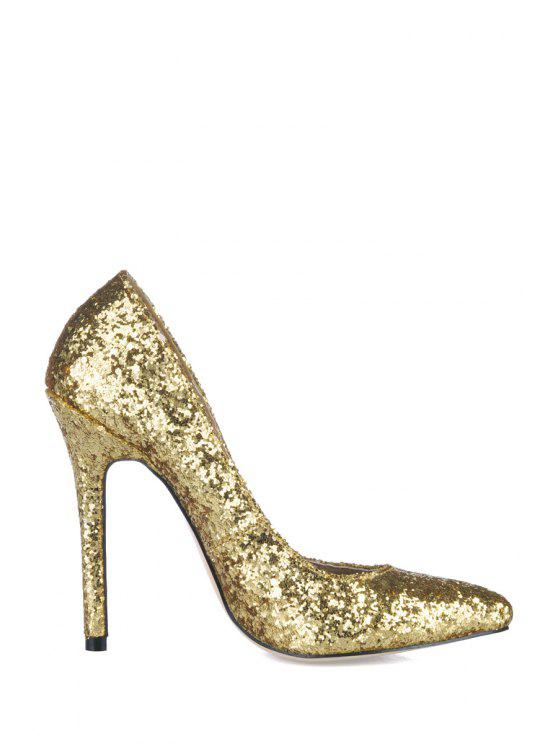 trendy Sequined Stiletto Heel Pointed Toe Pumps - GOLDEN 35