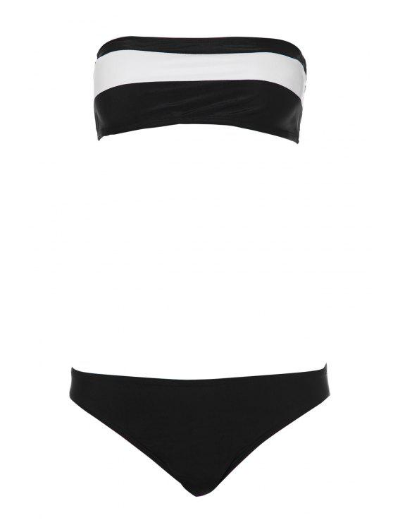 affordable Color Block Stripe Bikini Set - WHITE AND BLACK S