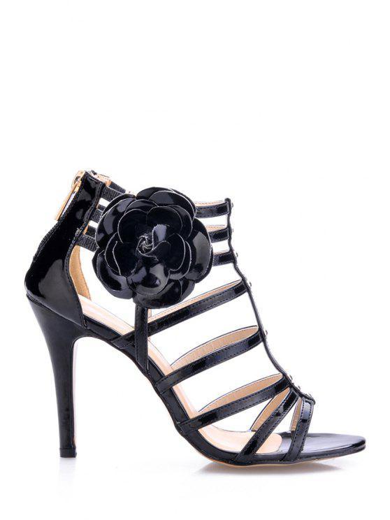 women Patent Leather Applique Stiletto Heel Sandals - BLACK 36