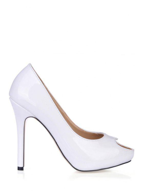 hot Patent Leather Hollow Out Pumps - WHITE 35