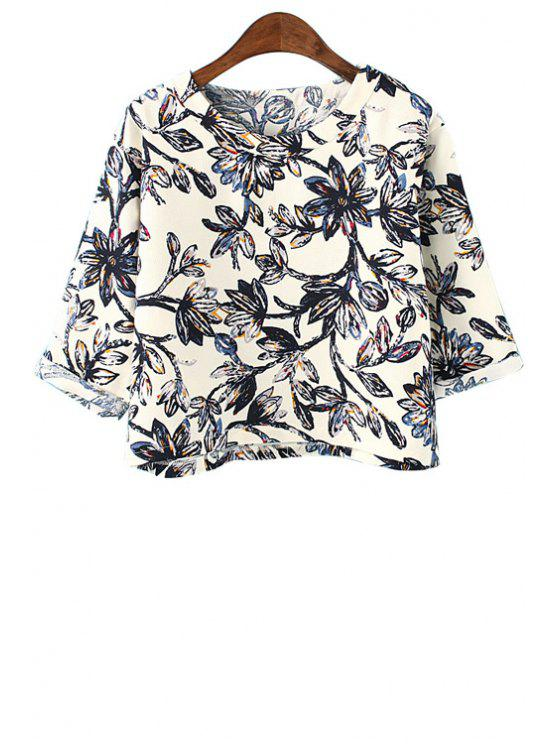 fancy Full Floral Print Half Sleeve T-Shirt - BLACK ONE SIZE(FIT SIZE XS TO M)