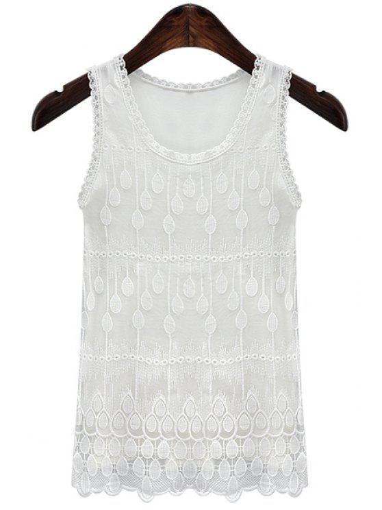 women White Lace Tank Top - WHITE S
