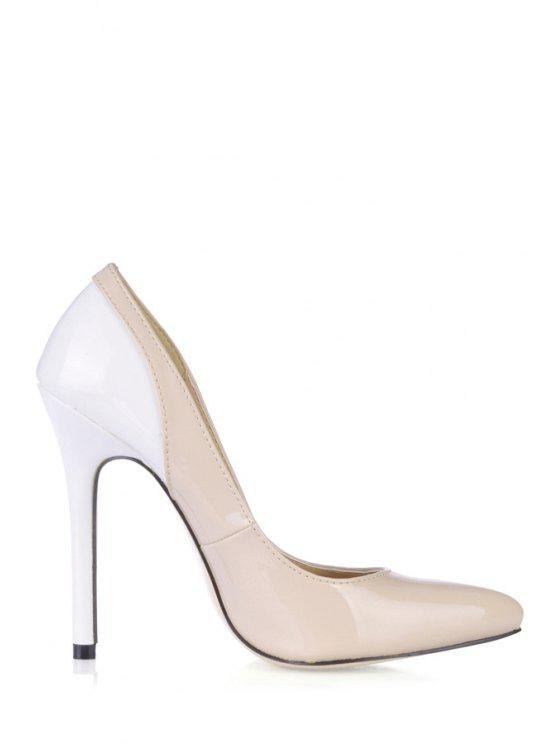shop Patent Leather Color Block Pumps - PINK AND WHITE 35