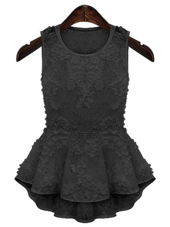 outfit Lace Flouncing Tank Top - BLACK M