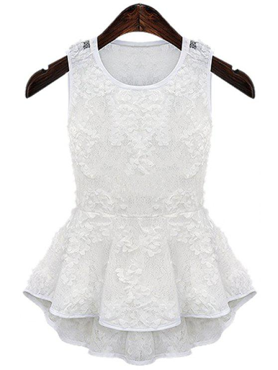 chic Lace Flouncing Tank Top - WHITE S