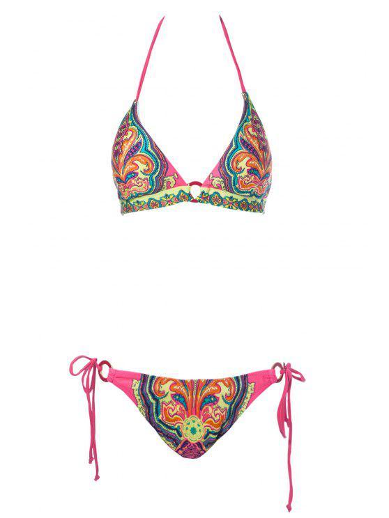 lady Print Halter Side-Tie Bikini Set - RED S
