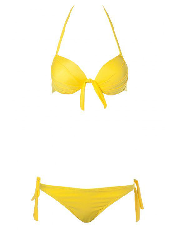 outfits Solid Color Side-Tie Bikini Set - YELLOW S