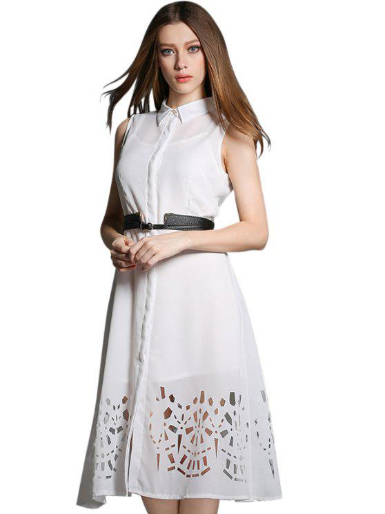 lady Hollow Dress and Spaghetti Straps Dress Twinset - WHITE S