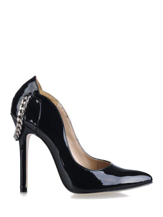 outfits Patent Leather Chain Stiletto Heel Pumps - BLACK 35