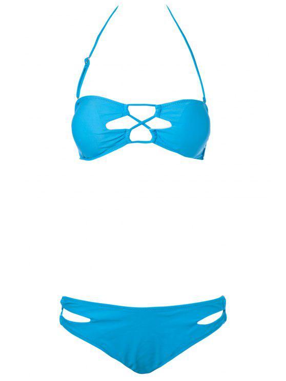 sale Solid Color Strapless Bikini Set - LAKE BLUE S