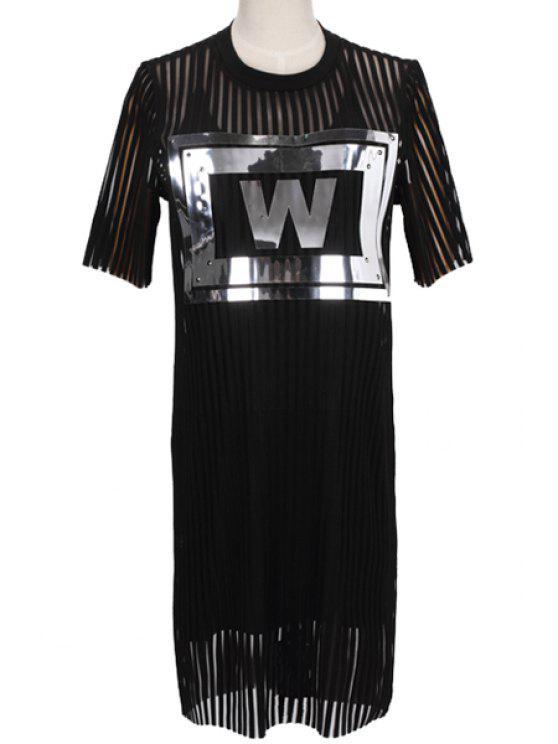 shop Letter Pattern Dress and Spaghetti Straps Dress Twinset - BLACK S