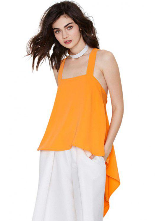 lady Square Neck Solid Color Backless Tank Top - ORANGE XS