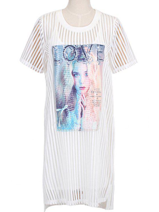 sale Figure Print Dress and Spaghetti Straps Dress Twinset - WHITE S