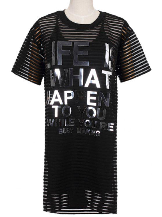 fashion Letters Print Dress and Spaghetti Straps Dress Twinset - BLACK S