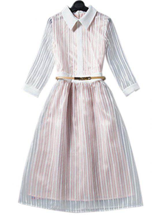 shop Striped Shirt Neck 3/4 Sleeve Dress - CHAMPAGNE S