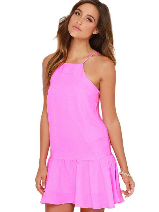 trendy Spaghetti Strap Flounce Splicing Solid Color Dress - ROSE XS