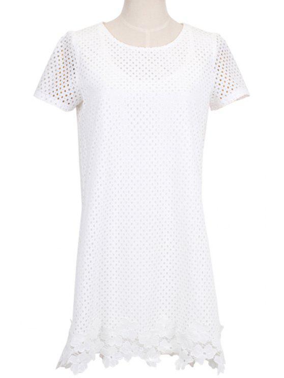 affordable White Hollow Short Sleeve Dress - WHITE S