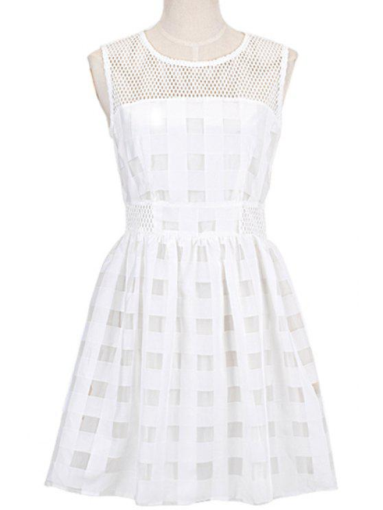 buy Striped White A-Line Sundress - WHITE S