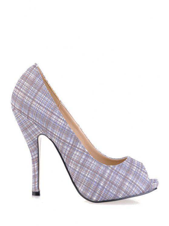 latest Stiletto Heel Checked Peep Toed Shoes - BLUE GRAY 35