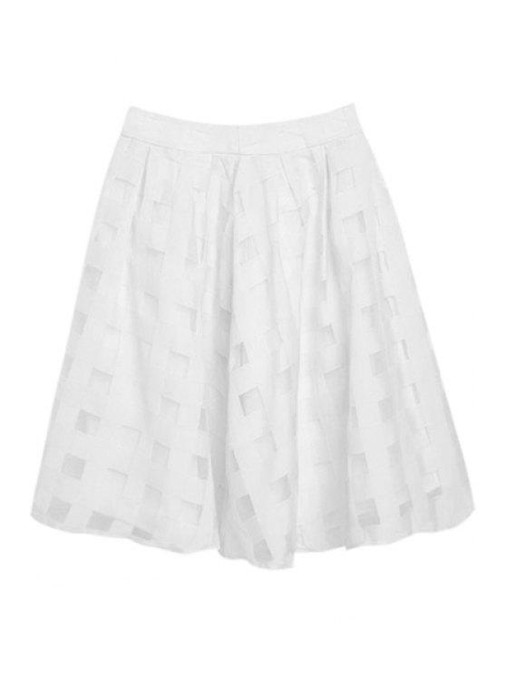 fashion Checked Pattern A-Line Skirt - WHITE S