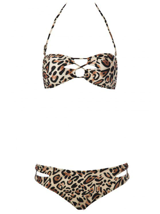 online Strapless Leopard Pattern Bikini Set - LEOPARD S