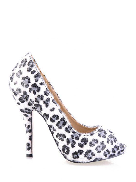 best Leopard Print Suede Peep Toed Shoes - LEOPARD 35
