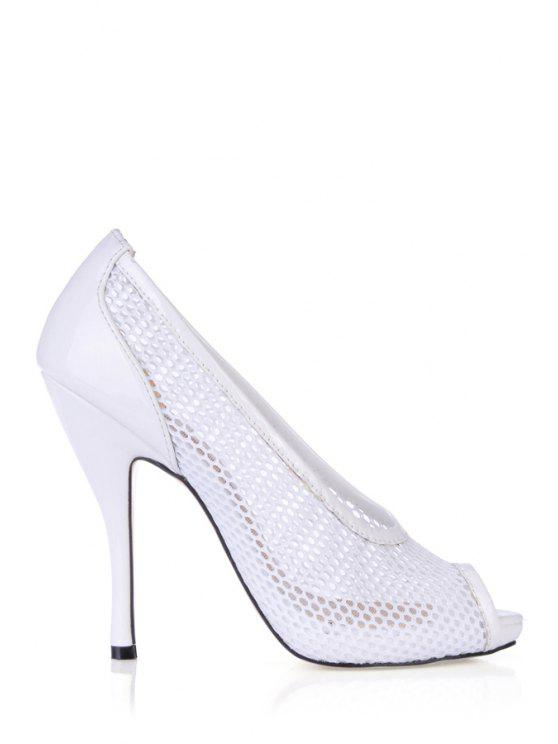 outfits Stiletto Heel Meshed Peep Toed Shoes - WHITE 35