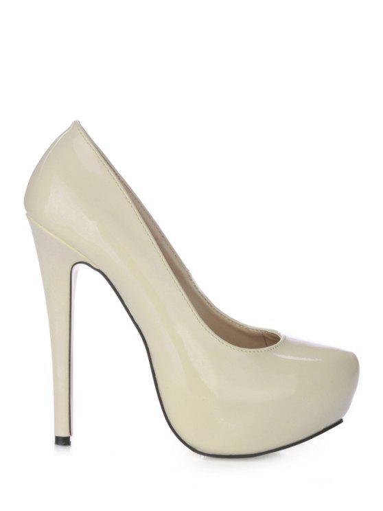 ladies Stiletto Heel Patent Leather Pumps - CRYSTAL CREAM 35