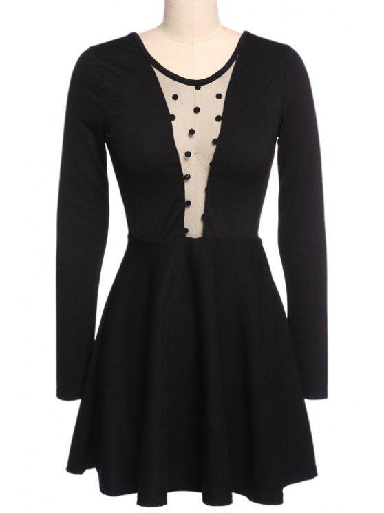 new Voile Spliced Black Long Sleeve Dress - BLACK S