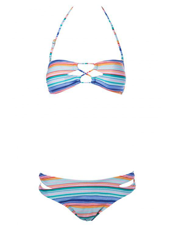Striped Strapless Bikini Set - Listras M