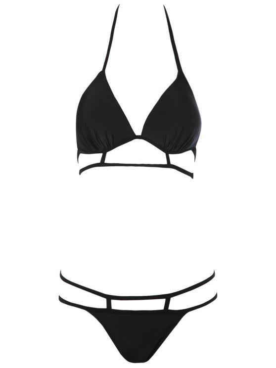 best Black Halterneck Bikini Set - BLACK L