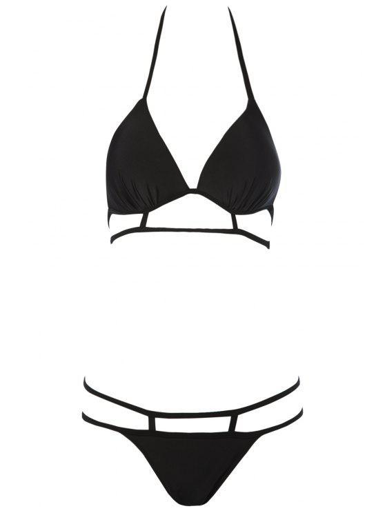 ladies Black Halterneck Bikini Set - BLACK S